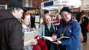 Tina Seemann with students at the Royal Winter Fair:putting education into practice