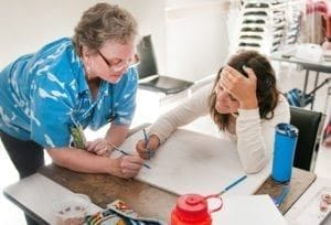 Tina Seemann with Cartooning Workshop student...