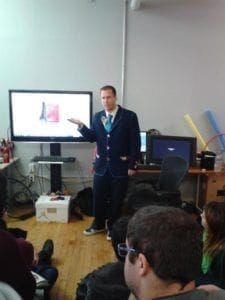 Andrew Strimitas, lead animator, talking to our students..