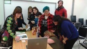 Chidren's book author Mirielle Messier with students & grads