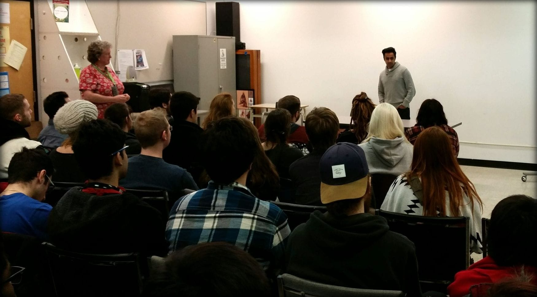 Director Tahir Rana speaking to animation and concept art students at tMax the Mutt.