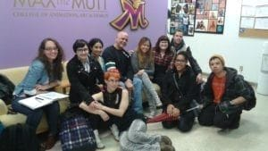 Students with Robin and Jezebel from DHX Studios
