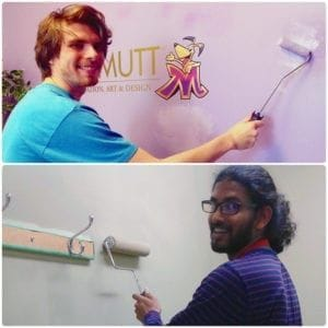 2nd year Animation student Zander Awbrey and 2nd year Concept Art student Jayesh Naidu assisting with needed touch ups
