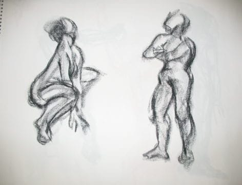 A detailed life drawing of two subjects. Learn the intricacies behind life drawing with our Introduction To Creative Industries Program.