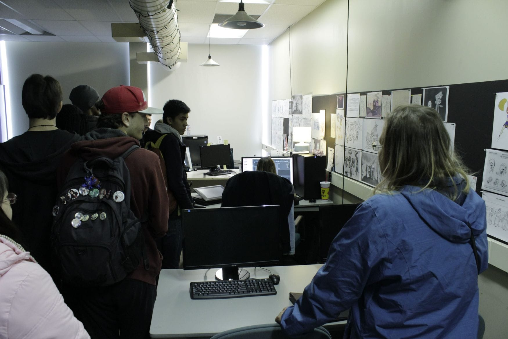 Visitors tour the Year 4 Computer Animation studio during November's Open House