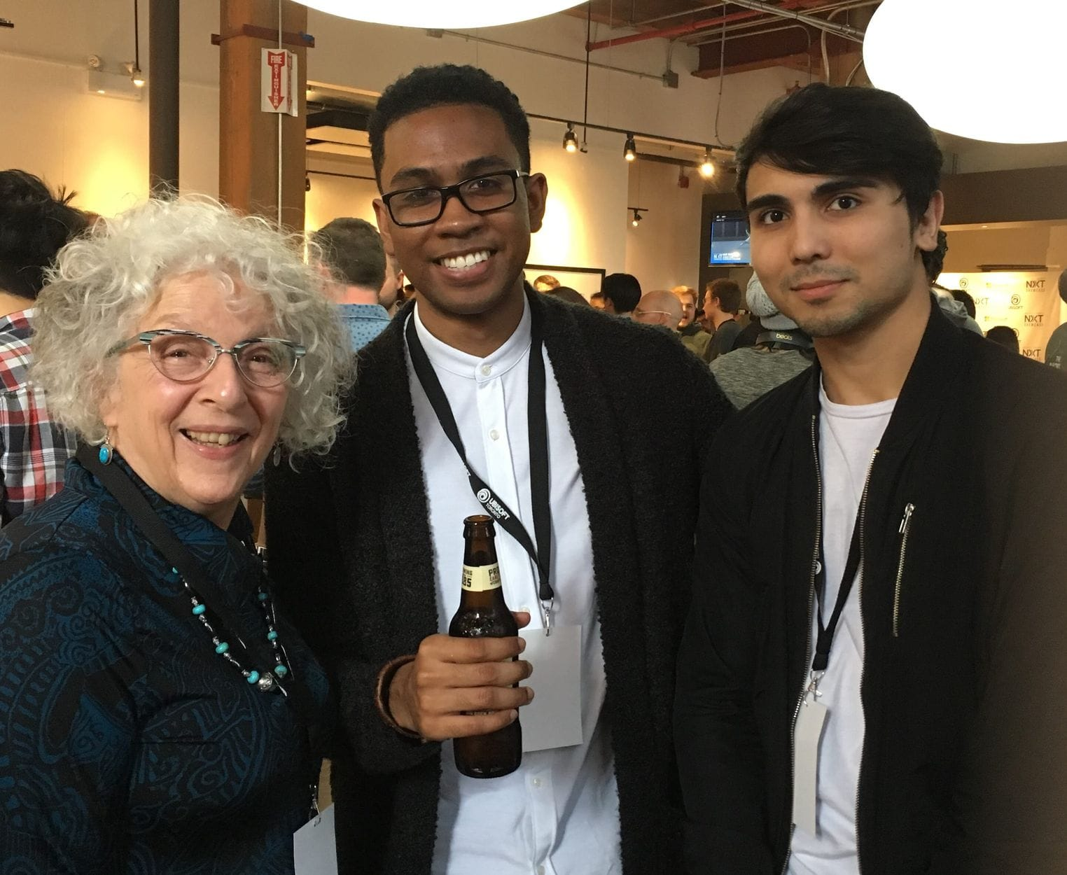 Maxine Schacker with Dhenzel Obeng and Zabi Hassan at Ubisoft Toronto NXT Showcase Awards 2018