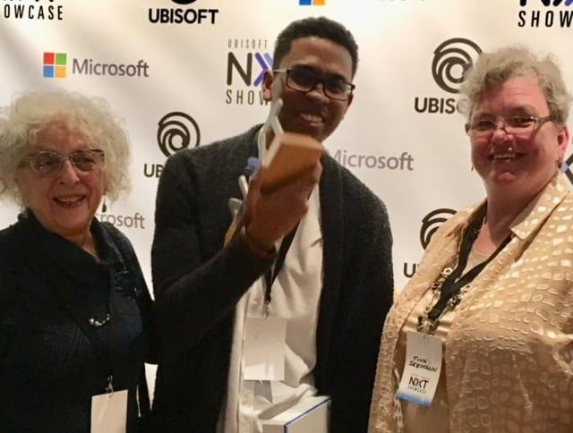 Maxine Schacker & Tina Seemann, MTM Co-Directors, with Dhenzel Obeng and his award!