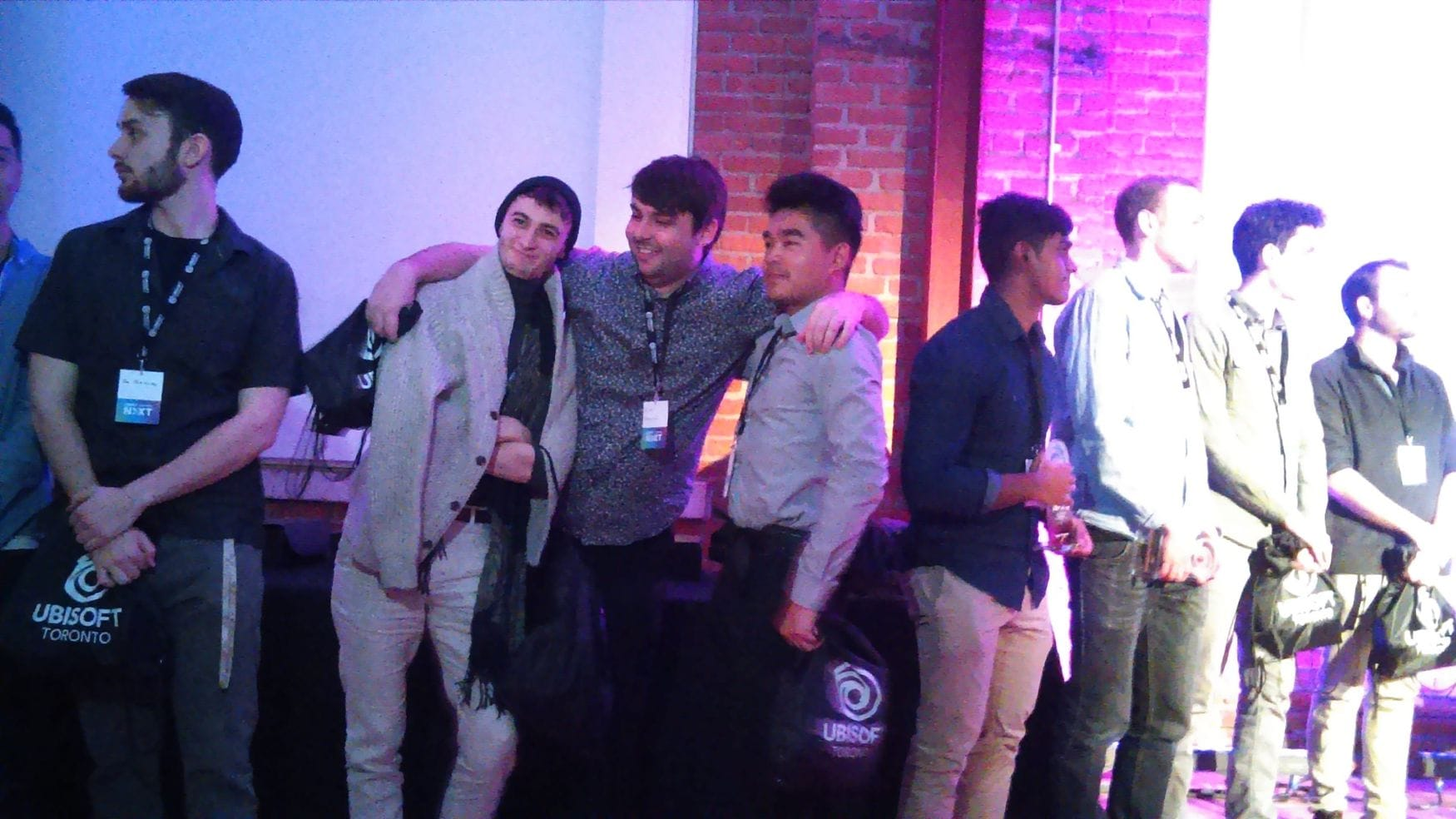 Max the Mutt year 2 student, and third place winner, Sergi Iranzo, Max the Mutt Grad, and second place winner, Adam Homonlyo with Friend at the 2019 Ubisoft Nxt Awards