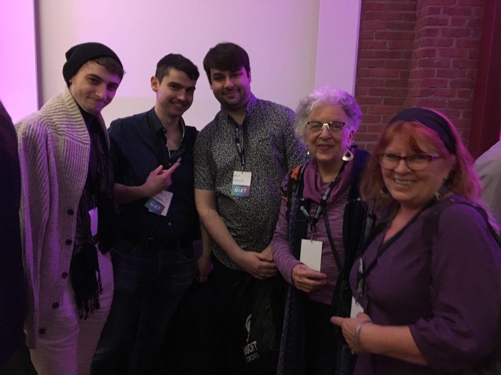 Sergi Iranzo, a friend, Adam Homonylo, Maxine Schacker -Max the Mutt Co-Director-, and Hilary Phillips- Concept Art Co-ordinator-, at the 2019 Ubisoft NEXT Awards