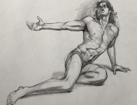 A beautiful intermediate life drawing by a Max the Mutt student