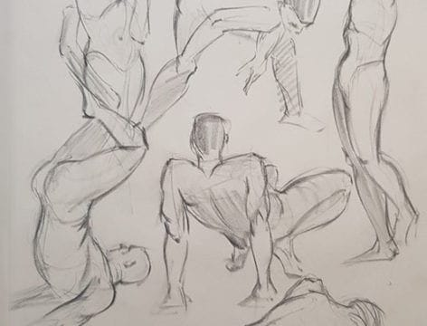 Intricate life drawing by Max the Mutt student Ivo Panczel. Receive the necessary basics of life and representational drawing with our fall portfolio development workshop.