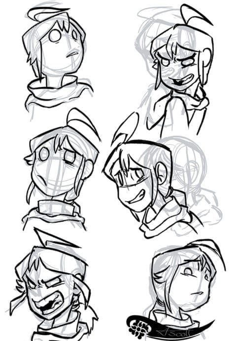 Angelic Scott Andy expression sheet 1